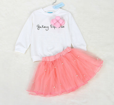 Lovely Girls White Tee Shirt and Pink Skirt With Rhinestone Clothes Set for Kids Girl Autmn Children Clothing Sets - CelebritystyleFashion.com.au online clothing shop australia