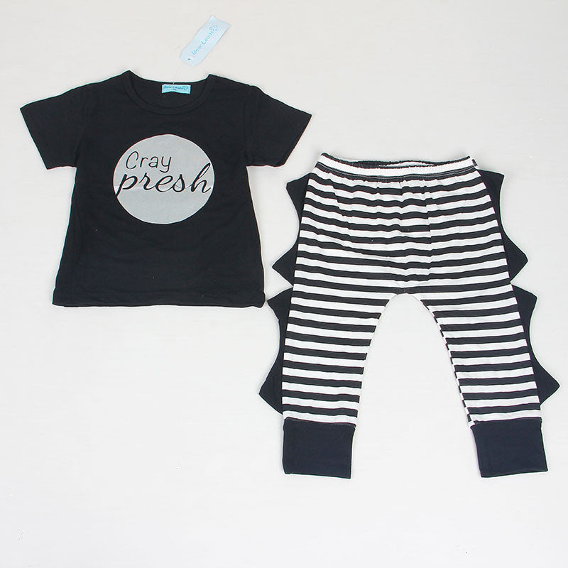Gold / 0-3 monthsSummer 2pcs Newborn Infant Baby Boys Kid Clothes T-shirt Tops + Pants Outfits Sets 0-24 Children's Clothing Set