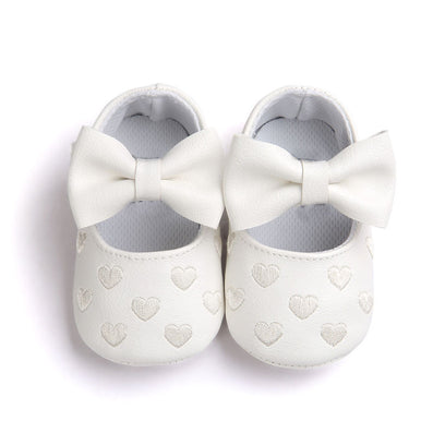 PU Leather Newborn Baby Girls Princess Heart-Shaped Mary Jane Big Bow Prewalkers Soft Bottom Shoes Crib Babe Ballet Dress Shoes - CelebritystyleFashion.com.au online clothing shop australia