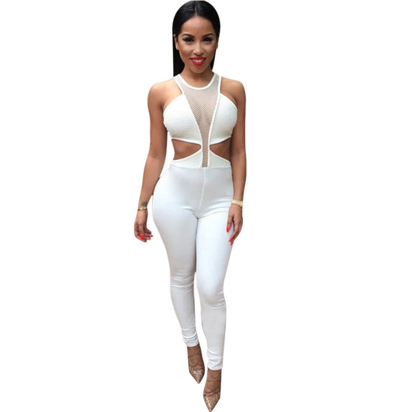 fe27c16b94b9 Jumpsuit Overalls Women Sexy Dew Waist Sleeveless Bodycon Bandage Party Long  Bodysuit Overall Rompers