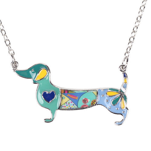 BlueBonsny Statement Metal Alloy Enamel Dachshund Dog Choker Necklace Chain Collar Pendant Fashion New Jewelry For Women