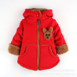 Cartoon Bear Children Winter Outwear Boys and Girls Thick Cotton Hoodies Infant Baby Cashmere Zip Sweater 1-2-3--4-5-6 Years Old - CelebritystyleFashion.com.au online clothing shop australia