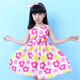 New Brand Girls Dress Summer Floral Big Bow Cotton Sleeveless Kids Flower Sundress Party Birthday Lovely Girls Clothes - CelebritystyleFashion.com.au online clothing shop australia