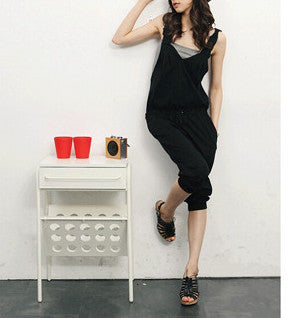 Summer style deep v neck cross backless women jumpsuit plus size ladies sleeveless black overalls and jumpsuits - CelebritystyleFashion.com.au online clothing shop australia