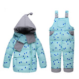 Baby girls boys winter down clothes set Suitable 10-24 months kids Cute diy snow wear thicken down jacket+overalls two pcs suit - CelebritystyleFashion.com.au online clothing shop australia