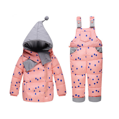 00a9aad7e591 Baby girls boys winter down clothes set Suitable 10-24 months kids ...