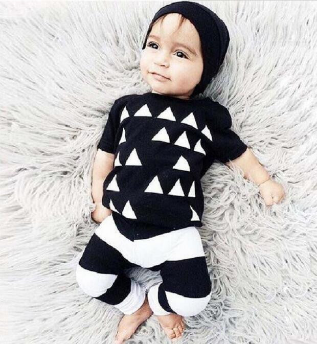 8 / 0-3 monthsFashion Infant Baby Costume Summer Style Baby Boy Clothes Cotton Letters Printed Baby Outfit Unisex T-shirt+Pants 2pcs