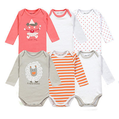 57dbc3edae2d 6 Pieces Brand Baby Girl Clothes Boy Long Sleeve Bodysuits New Born Clothing  With Character Printed