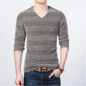 knitted male sweater korea spring long-sleeve pullover V neck knitwear stripe handsome men's clothes M-5XL - CelebritystyleFashion.com.au online clothing shop australia