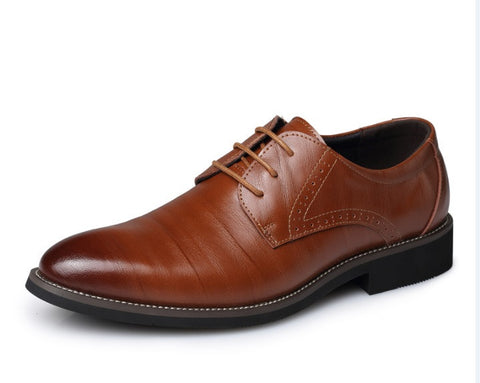 Men's Real Cowhide Leather Oxford Shoes Comfortable Insole Lacing Business Dress Shoes Man Wedding High Quality Shoes - CelebritystyleFashion.com.au online clothing shop australia