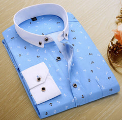 Mens Casual Shirts Fashion Long Sleeve Brand Printed Male Plus Size Formal Business Polka Dot Floral Men Dress Shirt New - CelebritystyleFashion.com.au online clothing shop australia
