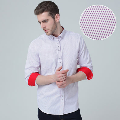 Men's Striped Long-sleeved Shirt Large Size High-end Business Casual Shirt Clothing Brand Dress Male - CelebritystyleFashion.com.au online clothing shop australia