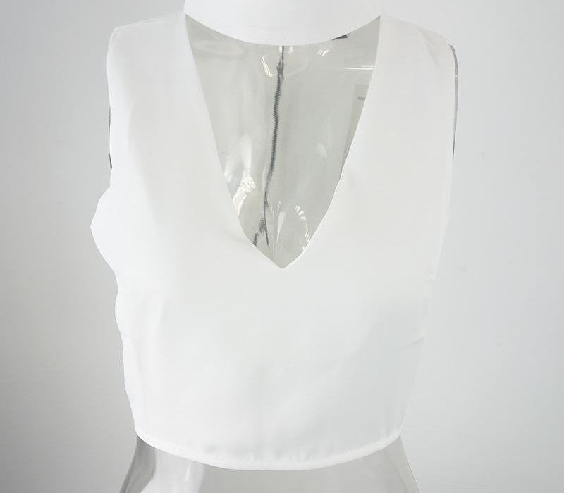 White / Shigh neck white halter girls 90's cropped tank top Summer sexy v neck sleeveless women short crop tops