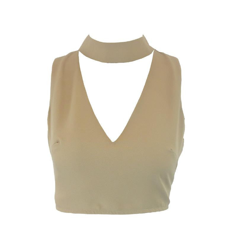 Nude / Shigh neck white halter girls 90's cropped tank top Summer sexy v neck sleeveless women short crop tops