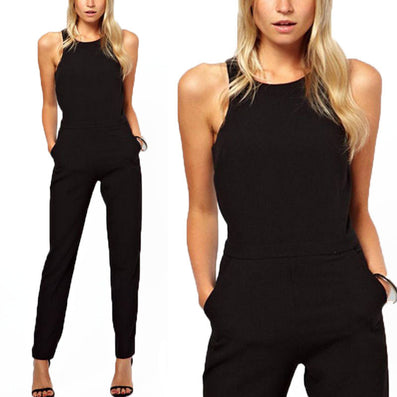 Women Casual Elegant Black Back Zipper Hollow Sleeveless Long Jumpsuit Playsuits Rompers Trousers Plus Size - CelebritystyleFashion.com.au online clothing shop australia