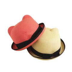 Kids Straw Hats Fedora Hat Children Beach Sun Baby Ear Vintage Baby Boy And Girl Wide Brim Floppy Panama - CelebritystyleFashion.com.au online clothing shop australia
