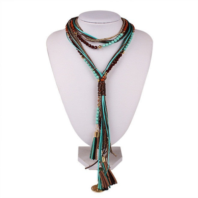 blue2015 New Arrival Facet Beads Multi layer Long Jewelry for Women N3151