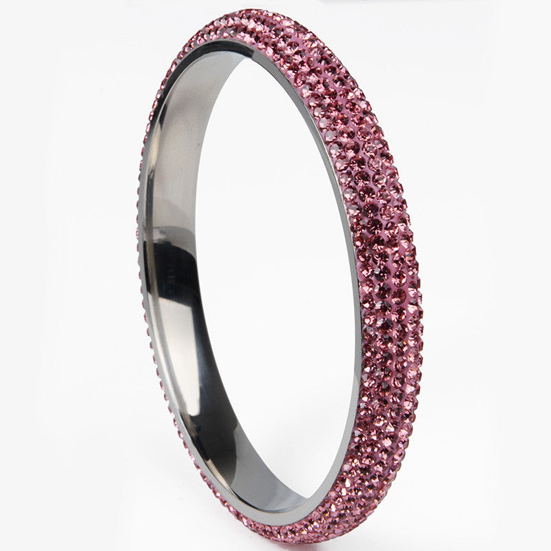 light pink5 rows Fashion High Quality Crystal Stainless Steel bangles rhinestone For Love bangles Women Bracelets