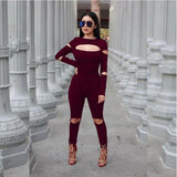 Women Bodycon Jumpsuit Long Sleeve Hollow Out Fahion Sexy Club Overalls Bodysuit Rompers Womens Jumpsuits - CelebritystyleFashion.com.au online clothing shop australia