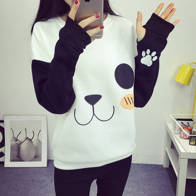 New College Wind Women Hoodies Fashion Cartoon Panda Sweatshirts Casual Printed Mixed Color Harajuku Tracksuits Female - CelebritystyleFashion.com.au online clothing shop australia