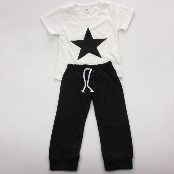 04ab461292f3 Star Printed Baby Boy Clothing Set Newborn Cotton Short Sleeve T-shirt+Pants  Suit