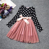 Fashion Mini Dress For Girl Long Sleeve Bow-Knot Princess Girls Dresses Polka Dot Bow Print Girls Dress Casual Baby Clothes - CelebritystyleFashion.com.au online clothing shop australia