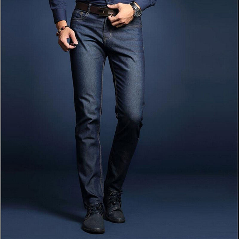 Dark blue / 28New summer business men jeans good quality solid denim jeans men lightweight business straight mens jeans