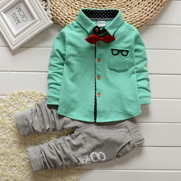 Sky Blue / 2TBaby Boy girls Clothing Sets children Bow tie T-shirts glasses cartoon+ pants kids cotton cardigan two piece suit