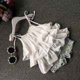 Summer children's clothing girls suit Chiffon cake sling + pants 2pcs pearl flower halter top denim shorts kids Set - CelebritystyleFashion.com.au online clothing shop australia