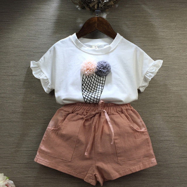 Fashion Cartoon Girls cartoon Summer Clothes Baby Suits Kids T Shirt +pants Children Clothing SetwhiteCELEBRITYSTYLEFASHION
