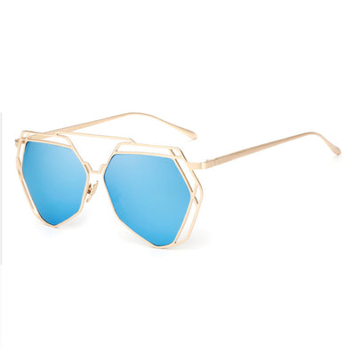 Brand Designer New Big Mirror Sunglasses Women Hexagon Lovers Hippie Ladies Sunglasses UV400 Pilot Rose Gold Sun Glasses - CelebritystyleFashion.com.au online clothing shop australia