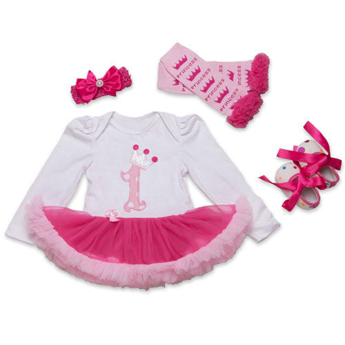 1F2025 / 0-3 monthsInfant Newborn Christmas Cute Kids Baby Girl Clothes 4Pcs Pink Minion Long-Sleeve Tutu Dress 1st Birthday Gifts Outfits New