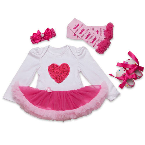19F2025 / 0-3 monthsInfant Newborn Christmas Cute Kids Baby Girl Clothes 4Pcs Pink Minion Long-Sleeve Tutu Dress 1st Birthday Gifts Outfits New