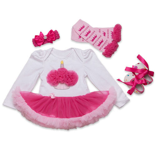 34F2025 / 0-3 monthsInfant Newborn Christmas Cute Kids Baby Girl Clothes 4Pcs Pink Minion Long-Sleeve Tutu Dress 1st Birthday Gifts Outfits New