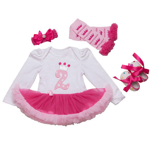72F2025 / 0-3 monthsInfant Newborn Christmas Cute Kids Baby Girl Clothes 4Pcs Pink Minion Long-Sleeve Tutu Dress 1st Birthday Gifts Outfits New