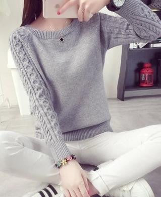 High Quality Women Sweater Retro Twist Round Neck Long-sleeved Knitted Pullover Sweaters 8303 - CelebritystyleFashion.com.au online clothing shop australia