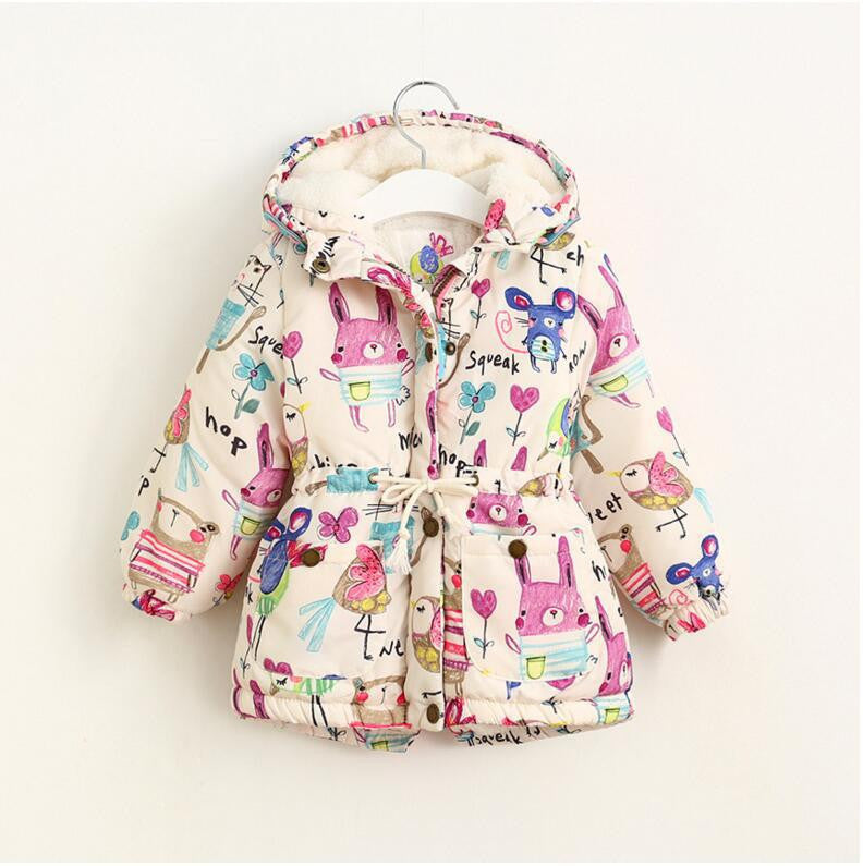 14e7c55d7ec1 Next Winter Kids Jackets   Coats Girls Graffiti Parkas Hooded Baby ...