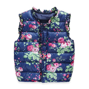 New Winter Children Vest Floral Printed Girls Waistcoat 2-7 Years Kids Warm Down Coat Children Clothing Baby Girl Vest Outerwear - CelebritystyleFashion.com.au online clothing shop australia