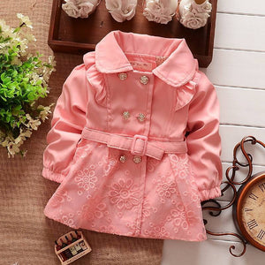 Girls Double Breasted Cardigan Infant baby kids Lace Coat Children Outwear Coats Belt Trench S1309 - CelebritystyleFashion.com.au online clothing shop australia