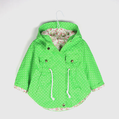 Spring Autumn Hooded Kids Jackets Long Sleeve Polka Dot Print Fashion Girls Windbreaker Coat Casual Waist Girls Jackets - CelebritystyleFashion.com.au online clothing shop australia