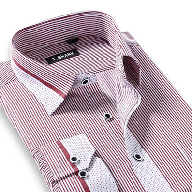 Men's Long Sleeve Light Blue/white Vertical Stripe Dress Shirt Regular-Fit Classic Turn-down Collar Business Formal Shirt - CelebritystyleFashion.com.au online clothing shop australia