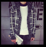 fall and winter men clothes men's plaid collar cardigan knit jacket sweater coat plus size good quality M to XXL 2colors - CelebritystyleFashion.com.au online clothing shop australia