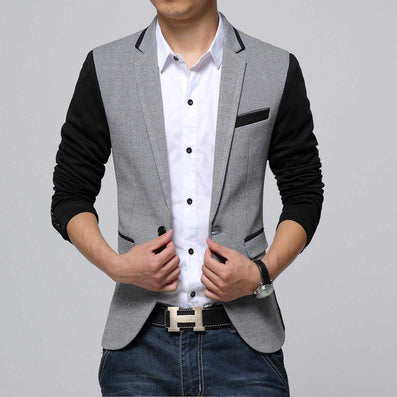 New Slim Fit Casual jacket Cotton Men Blazer Jacket Single Button Gray Mens Suit Jacket Autumn Patchwork Coat Male Suite - CelebritystyleFashion.com.au online clothing shop australia