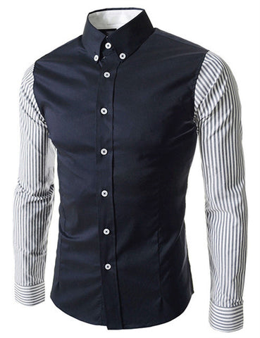European Size Men's Shirts Fashion Men's shirts Casual Slim Fit striped Long-sleeved Cotton - CelebritystyleFashion.com.au online clothing shop australia