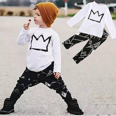 White / 2T2pcs Clothes Toddler Kids Baby Boys T-shirt Tops + Long Pants Trousers Short Outfits Clothes Set Summer Cool Fashion 2 3 4 5 6 7