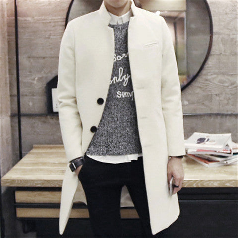 Beige / Smale winter stand collar single breasted brife slim Dust coat / men's solid color youyh pop plus velvet thick casual trench