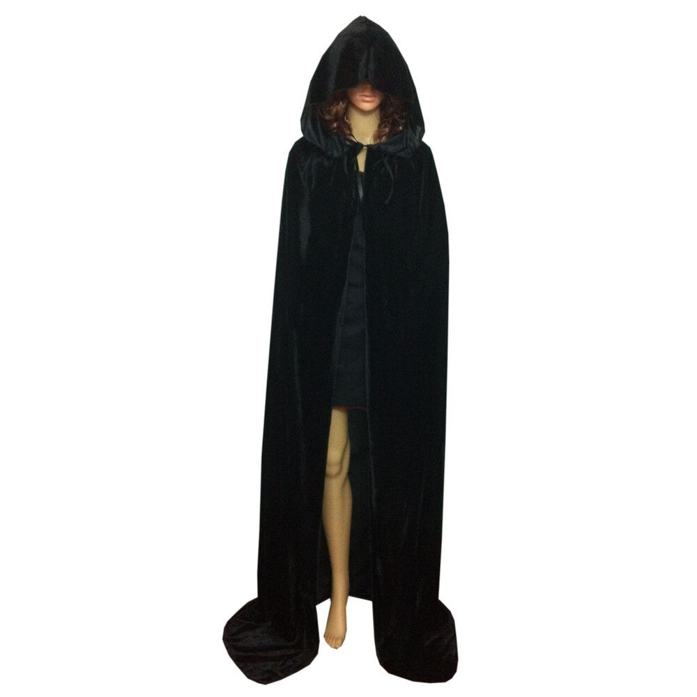 Black / LCloak Velvet Hooded Cape Medieval Renaissance Costume Xmas Vampire Fancy Dress