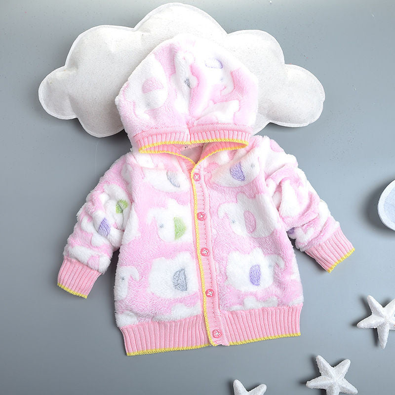 1 -3T Toddler Clothes Casual Warm Baby Cardigan for Boy Girl Autumn Winter Hooded Jacket Kids Outerwear Coat Children Clothingas picture