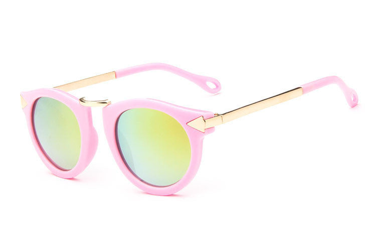 pink filmArrow Kids Sunglasses New Fashion Korean Sunglasses UV400 Retro Round Frame Glasses For Children