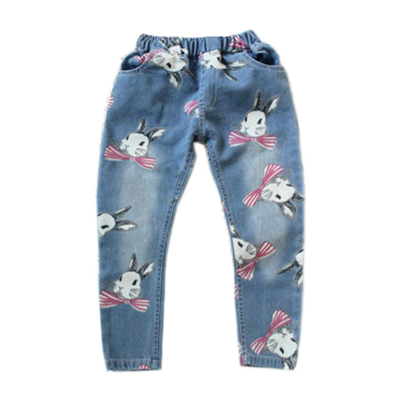Blue / 3TBrand SK Girls Clothing Casual Rabbit Print Jeans for Girls Fashion Kids Clothes Autumn Straight Pants